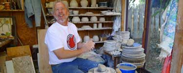 Richard Burkett working in his pottery studio during SD Pottery Tour 2011.